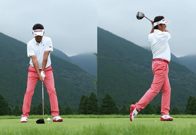 画像: ボール位置は右寄りにし、目線は下げるが左肩が下がらないように注意。インパクト後は一気に体が左を向くようにレベルに回転する