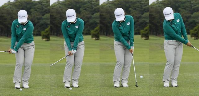 画像: 「軌道を腕で作るのは絶対にダメ」というシン・ジエ。左腰と左つま先で体重を支え、体の回転で振るようにしよう