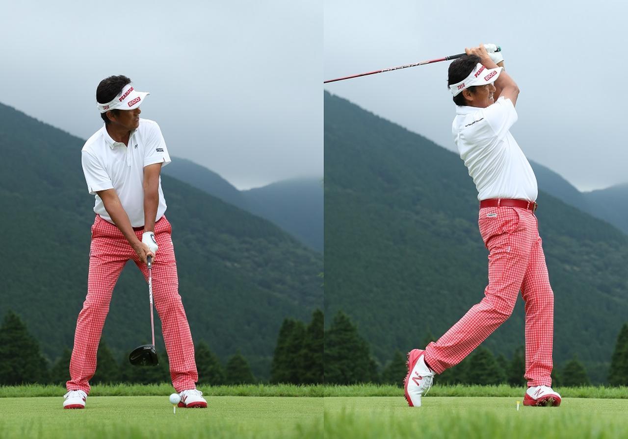 画像: ボール位置は左寄り。少し右肩を下げて目線を上げ、フェースも少し開く。そこからややアッパーに逆Cフィニッシュに振り抜こう