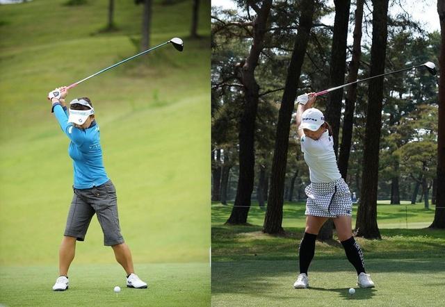 画像: 写真2:右の現在のスウィングのほうが、トップでの腕の動きがわずかに大きい。左が2013年のミヤギテレビ杯、右は2018年のワールドレディスサロンパスカップ