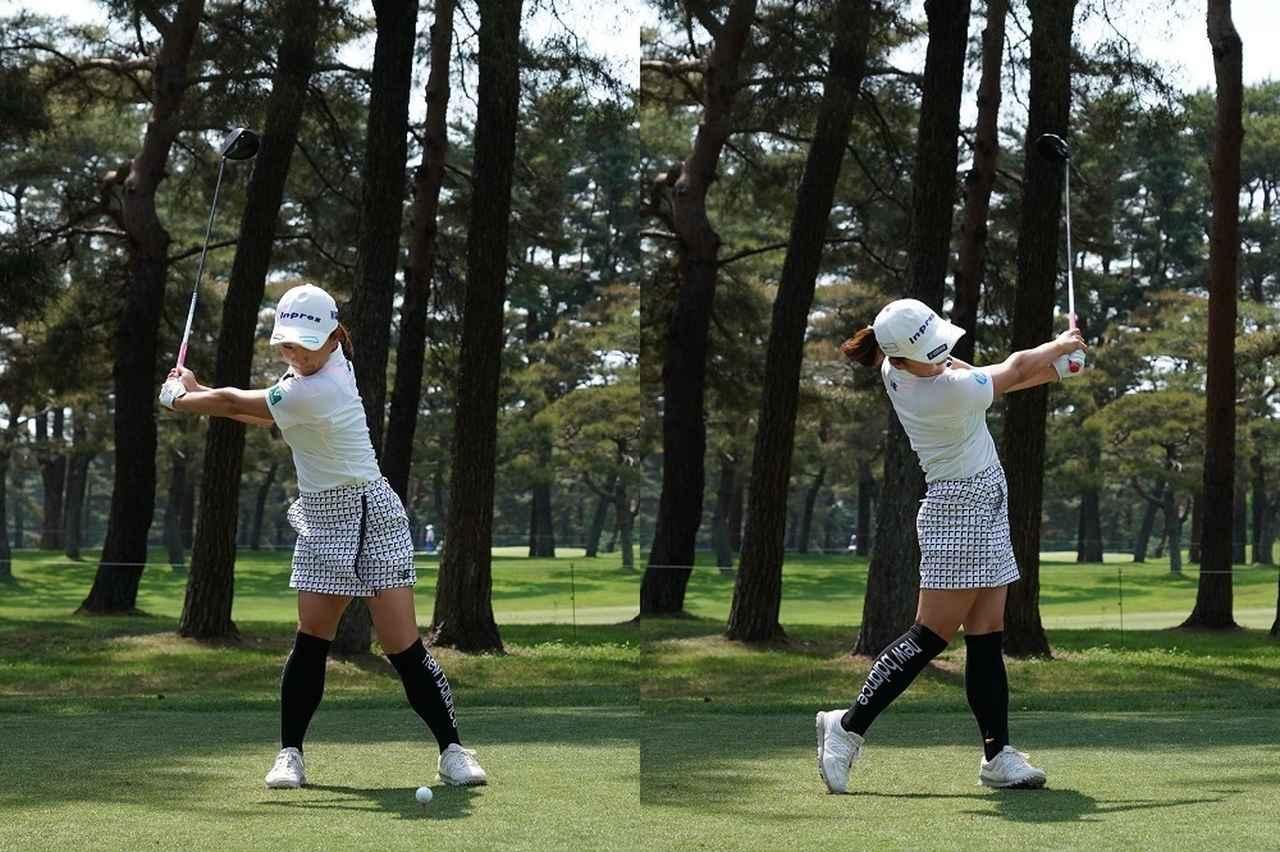 画像: 写真1:アーリーコックにより早い段階で胸の前にクラブをキープ。そのまま左右対称に振る、切れ味鋭いスウィングの特徴は変わらない(写真/2018年のサロンパスカップ、撮影/姉崎正)