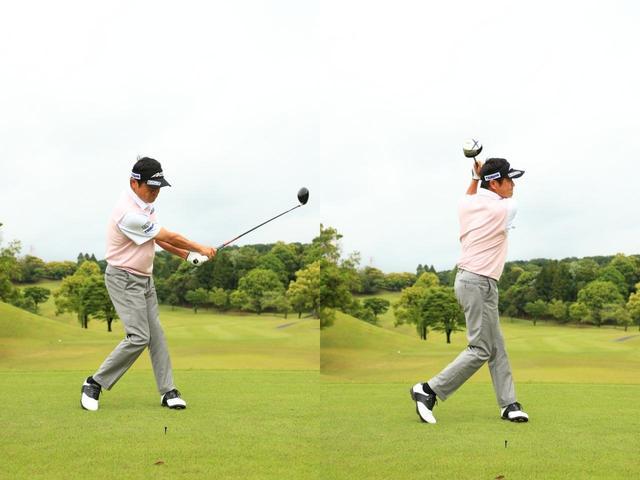 画像: 軸を中心にして体をスムーズに回そう。インパクトで左腰が伸びないように水平にターンするのがポイントだ