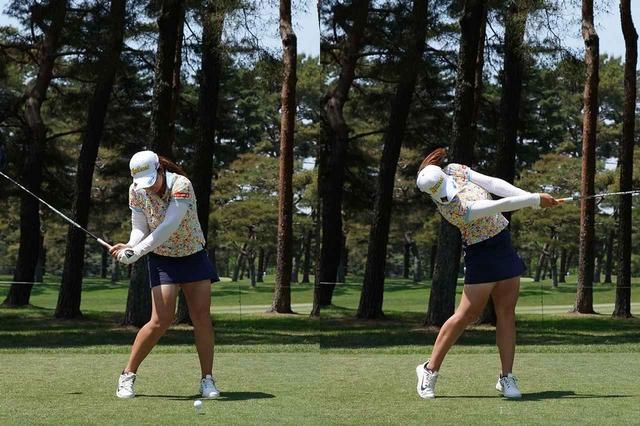 画像: (写真2)左足をしっかり踏み込みひざを伸ばすように地面反力を使って飛ばす