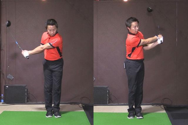 画像: 足を閉じて素振りをすることでフェースローテーションの動きを身に着けることができる