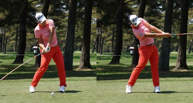 画像: 飛腕が左胸に乗った状態が、インパクト前からフォローまでキープされている。手を使わず、体の回転で振り抜いている証拠だ(写真は2018年のサロンパスレディス 撮影/姉崎正)