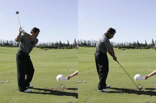 画像: ボールを隠して打つ。写真ではキャップを使っているが、アマチュアの場合は、もう少し大きなものを使ったほうが安全