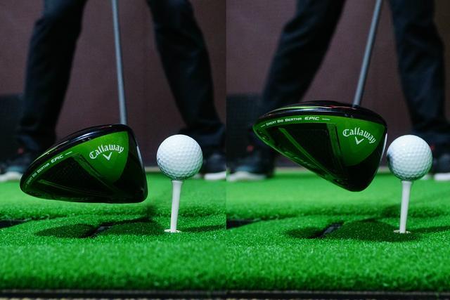 画像: 左が正しいアッパーブロー。右のようにクラブが最下点に達する前に打ってしまうと飛距離は伸びない。