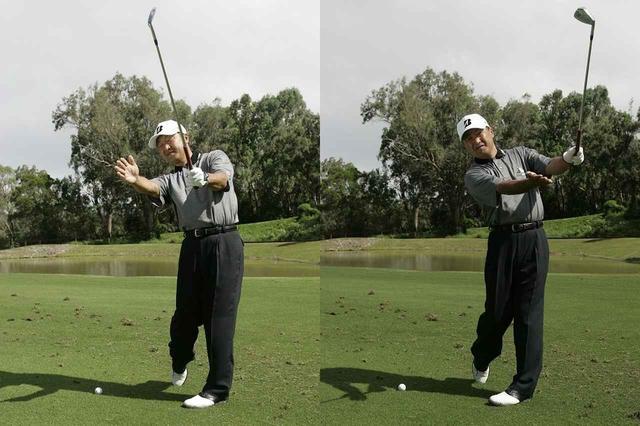 画像: インパクトまでは全く同じ意識でも、フォローを変えるだけで球筋は変わる