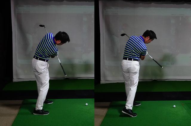 画像: 右が正しい回転。しっかりと横に回転することでボールに対してまっすぐ当たる