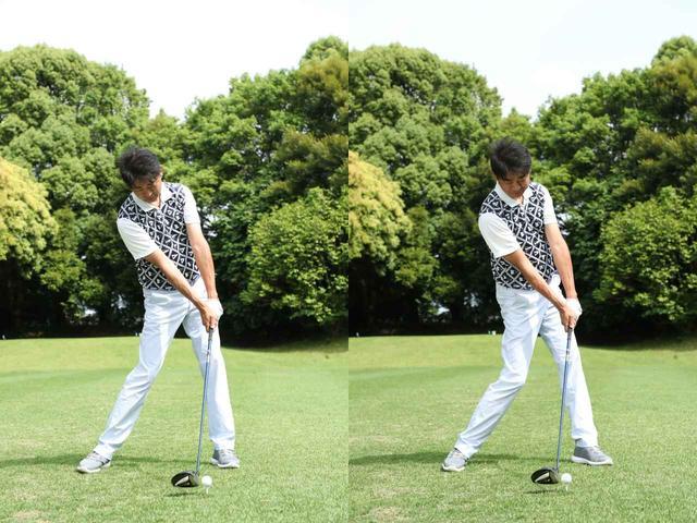 画像: RSはインサイドからクラブを入れてドローで飛ばしたいゴルファー(写真左)に向き、RS-Fは体の回転で強いフェードを打っていきたいゴルファーに最適(写真右)