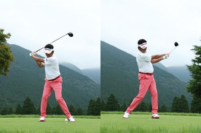 画像: 絶対にフックさせるスウィング。体は回さずその場で腕を振り、思い切ってフェースを返す