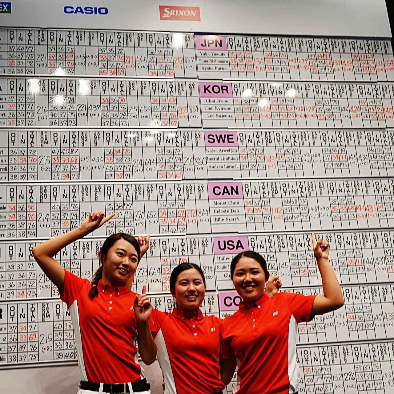 画像: スコアボードの前で喜ぶ安田(写真左)、西村(写真中)、古江(写真右)の日本チーム