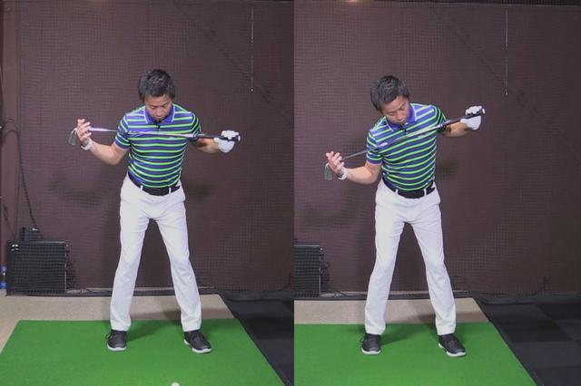 画像: 写真左が正しい目線。のぞき込んでしまうとすくいあげるようなスウィングになってしまいがち(写真右)