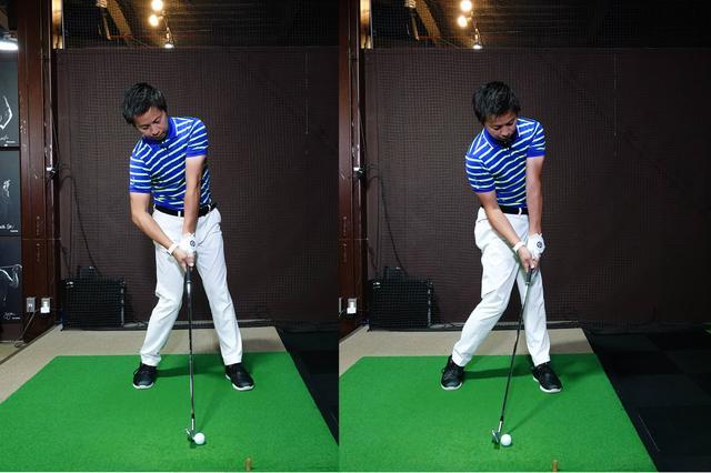 画像: 左がアマチュアで多く見られるボールを下からすくい上げるような動き。右のようにハンドファーストなスウィングが望ましい