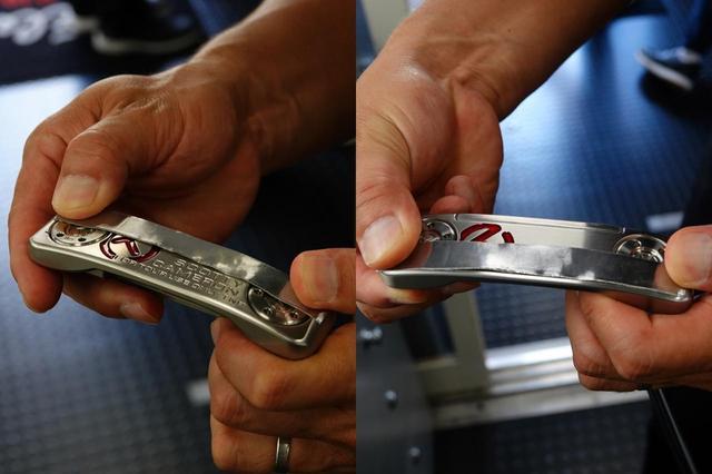 画像: 引っかけを防止したいならフェース寄り、つかまりをよくしたいならソール後方に鉛を貼る