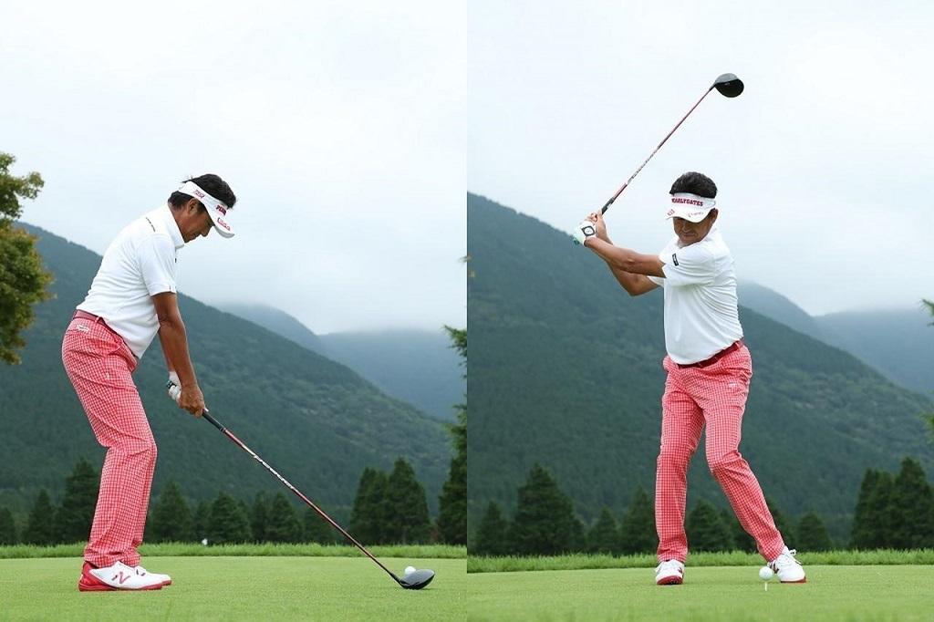 画像: ボールに少し近づいて構え、ひざを少し深めに曲げよう。トップはコンパクト、スタンスはやや狭くする