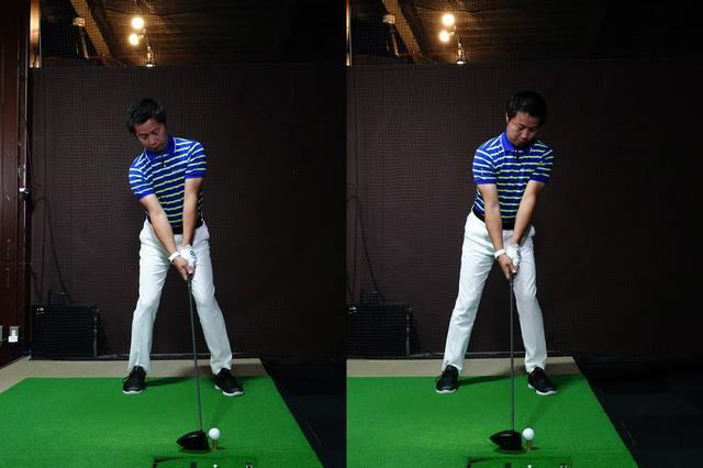 画像: 左が正しいアドレス。右のように前に傾くと高弾道になりづらい。