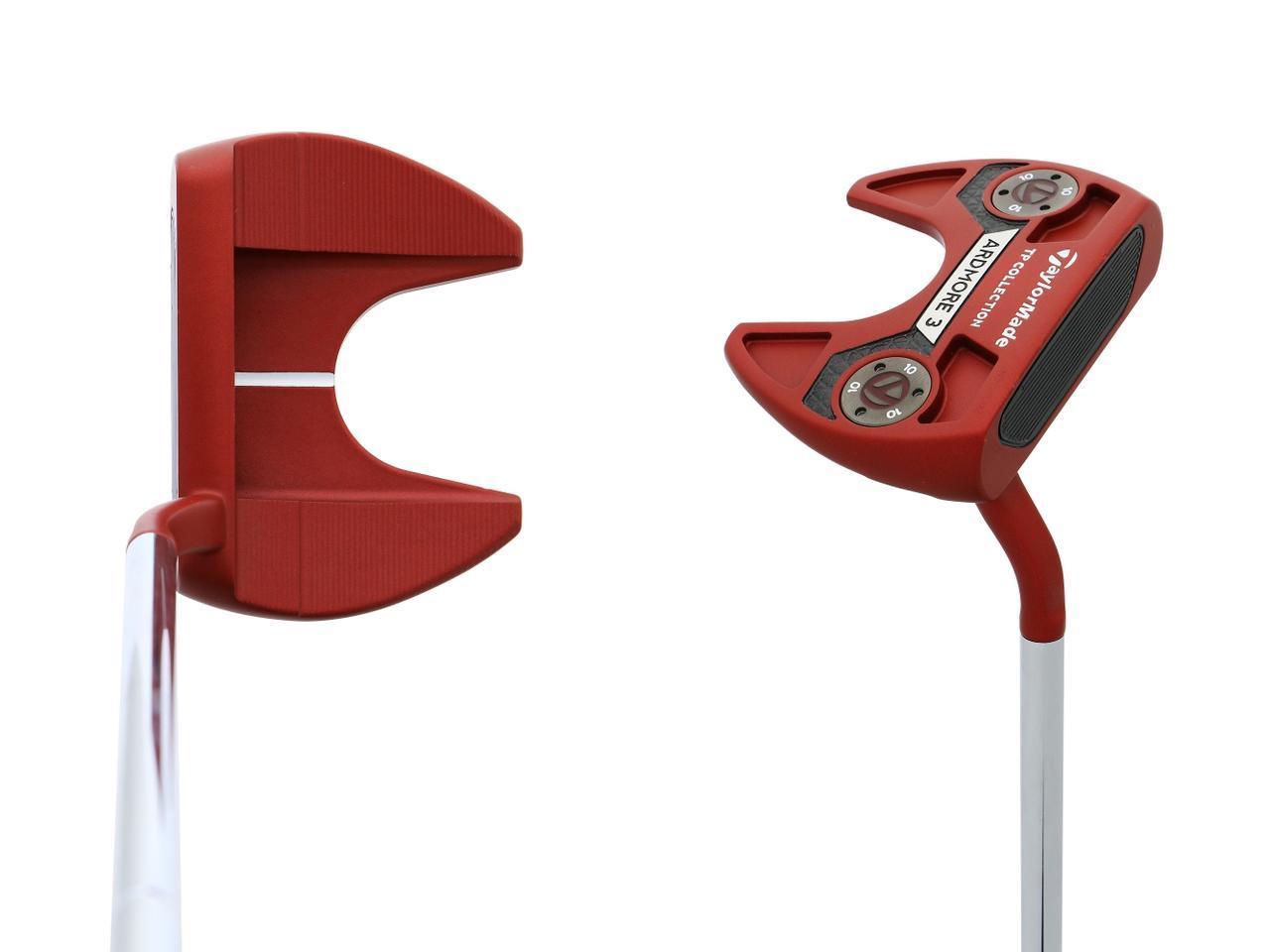 画像: タイガーが手にしたモデルと同型のテーラーメイド「TPコレクション レッド アードモア3」2本のツノが特徴的なマレット型パターだ