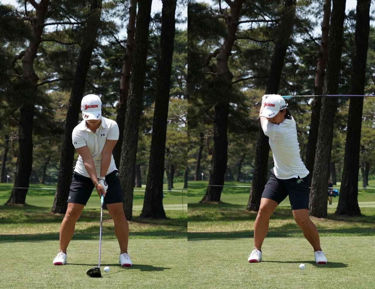 画像: アドレスとトップを比較すると、頭の位置が変わっていないことがわかる(写真は2018年のサロンパスレディス)