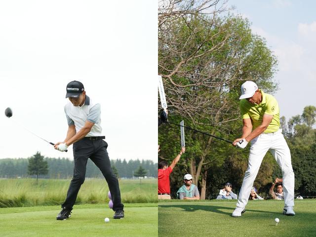 画像: 左が丸山奨王、右がファウラー。下半身の回転が鋭く上半身との捻転差がしっかりできたダウンスウィング