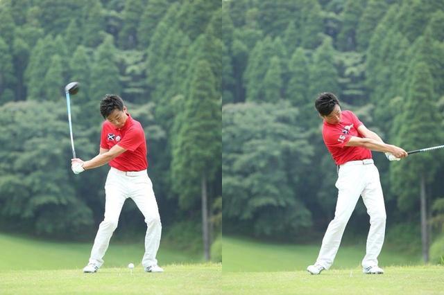 画像: 写真1.腰を逆回転させることを強く意識していても、遠心力に引っ張られて腰は左に回される