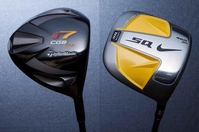 画像: 左:テーラーメイド「r7 CGB マックス」(2008年発売)、右:ナイキ「SQ SUMOスクェア」(2007年発売)