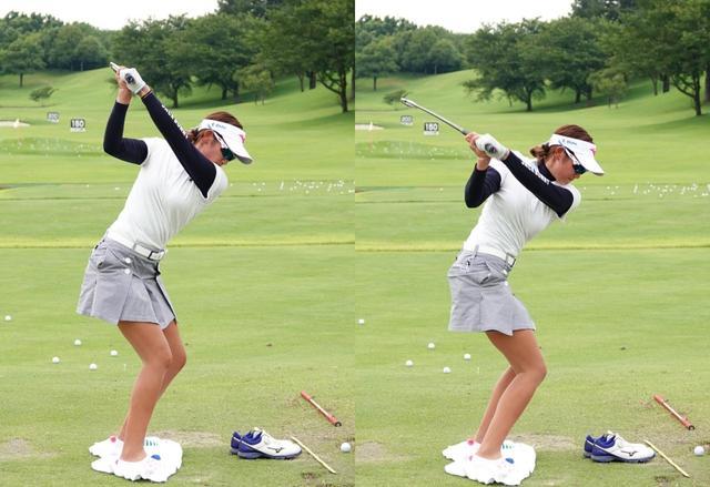 画像: 切り返しの瞬間に右膝が動き始めているのがわかる(写真は2018年のサマンサタバサ ガールズコレクション・レディストーナメント)
