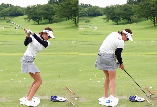 画像: 切り返しで膝が沈み込み、インパクトからフォローにかけて伸びあがる上下の動きもスウィングに組み込んでいる(写真は2018年のサマンサタバサ ガールズコレクション・レディストーナメント)