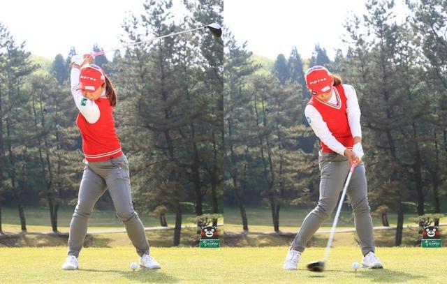 画像: 右のお尻を回すことで右股関節に体重が乗る(写真右)。インパクトにかけては左のお尻を回すことで腕の通り道ができ、パワーを逃さず振り切れる(写真は2018年のバンテリンレディス 撮影/大澤進二)