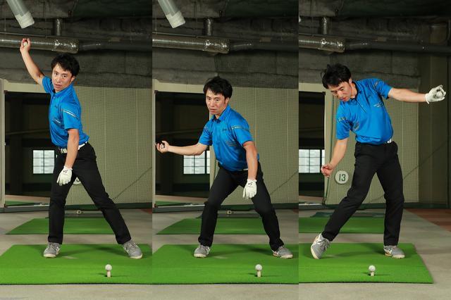 画像: 右手にボールを持ちトップで沈み込み、ボールを左手に持ち替え伸び上がりながらボールを投げる