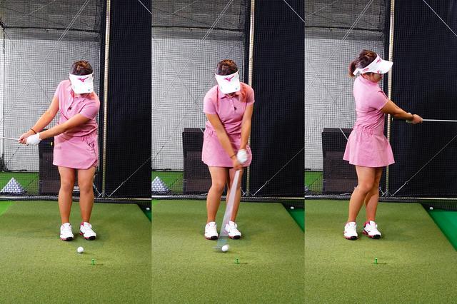 画像: 腕の三角形を維持しながらフィニッシュでは素直にボールを見送る基本通りのアプローチ
