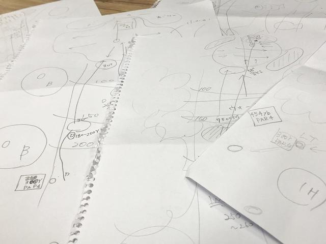 """画像: 自作ホール図の数々。これを""""妄想ラウンド""""するのが上達を生んだ"""