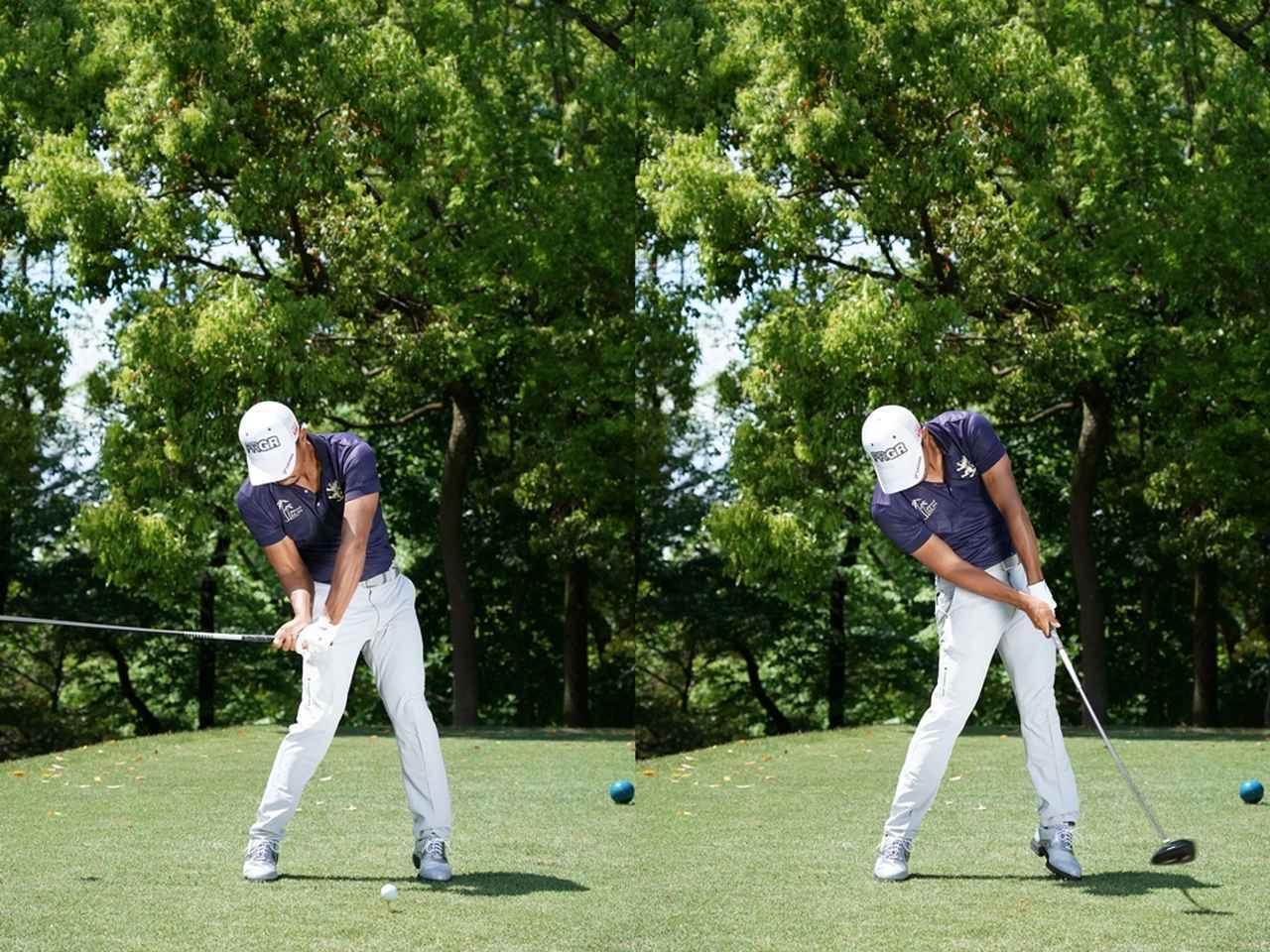 画像: ヘッドを真下にストンと落とし、そこからジャンプする動きとともに「L字」を思わせる軌道でボールをとらえる。掃くような動きとなり、スピンを減らして飛ばせる(写真は2018年の中日クラウンズ)