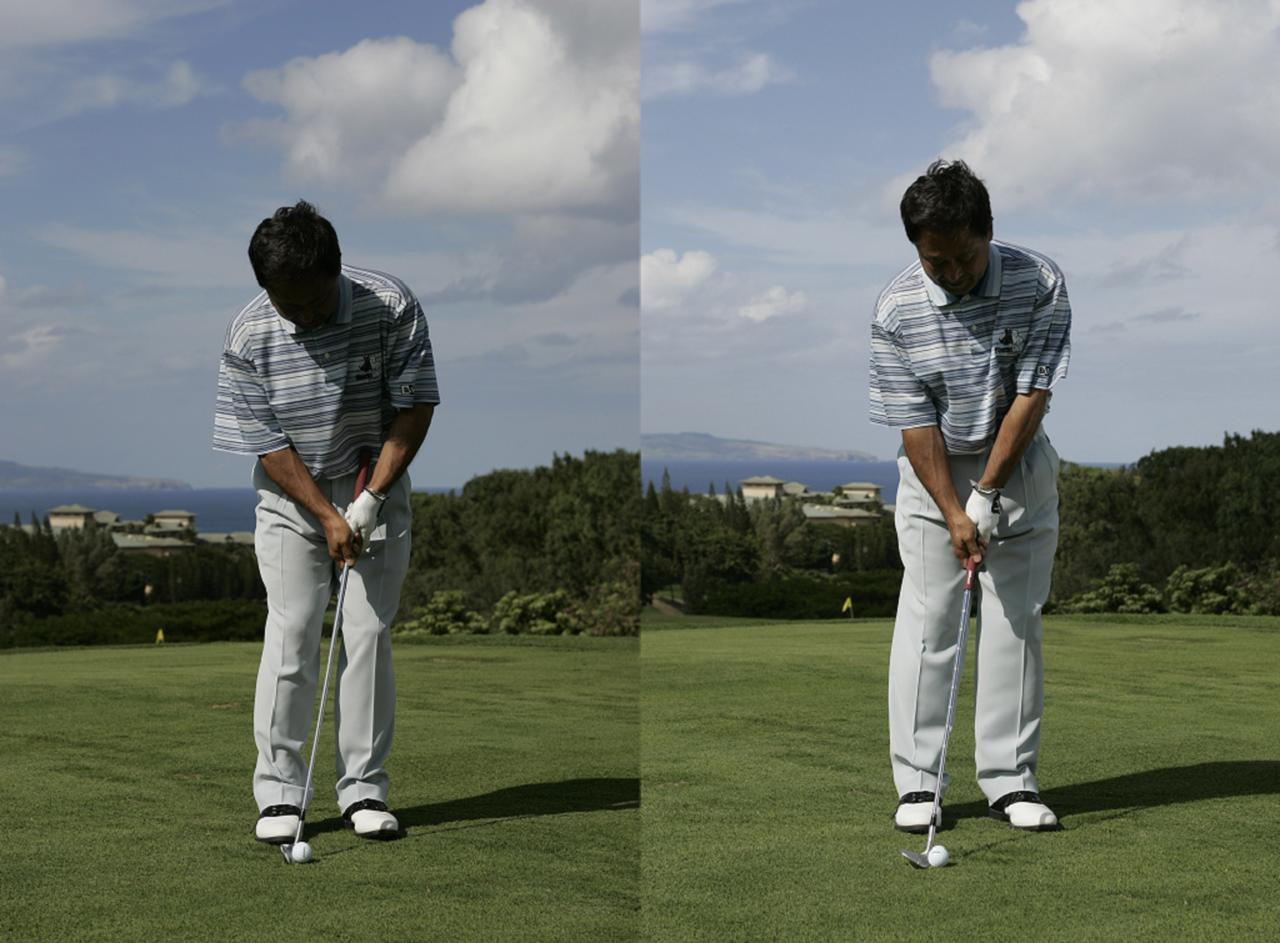 画像: インパクトを過ぎた形で構えればロフトが立って低い球(写真左)、インパクト前の形で構えればロフトが寝て高い球になる(写真右)