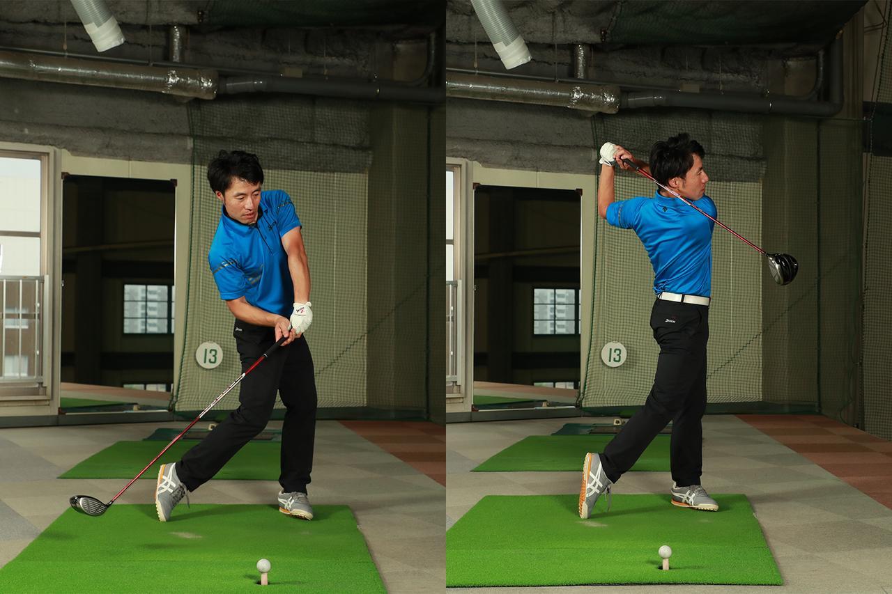 画像: クラブは動かさず体だけ左に回し、そこから力いっぱいクラブを振る