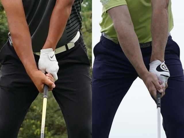 画像: 時松のテンフィンガーグリップ(左)とザック・ジョンソンのフックグリップ(右)