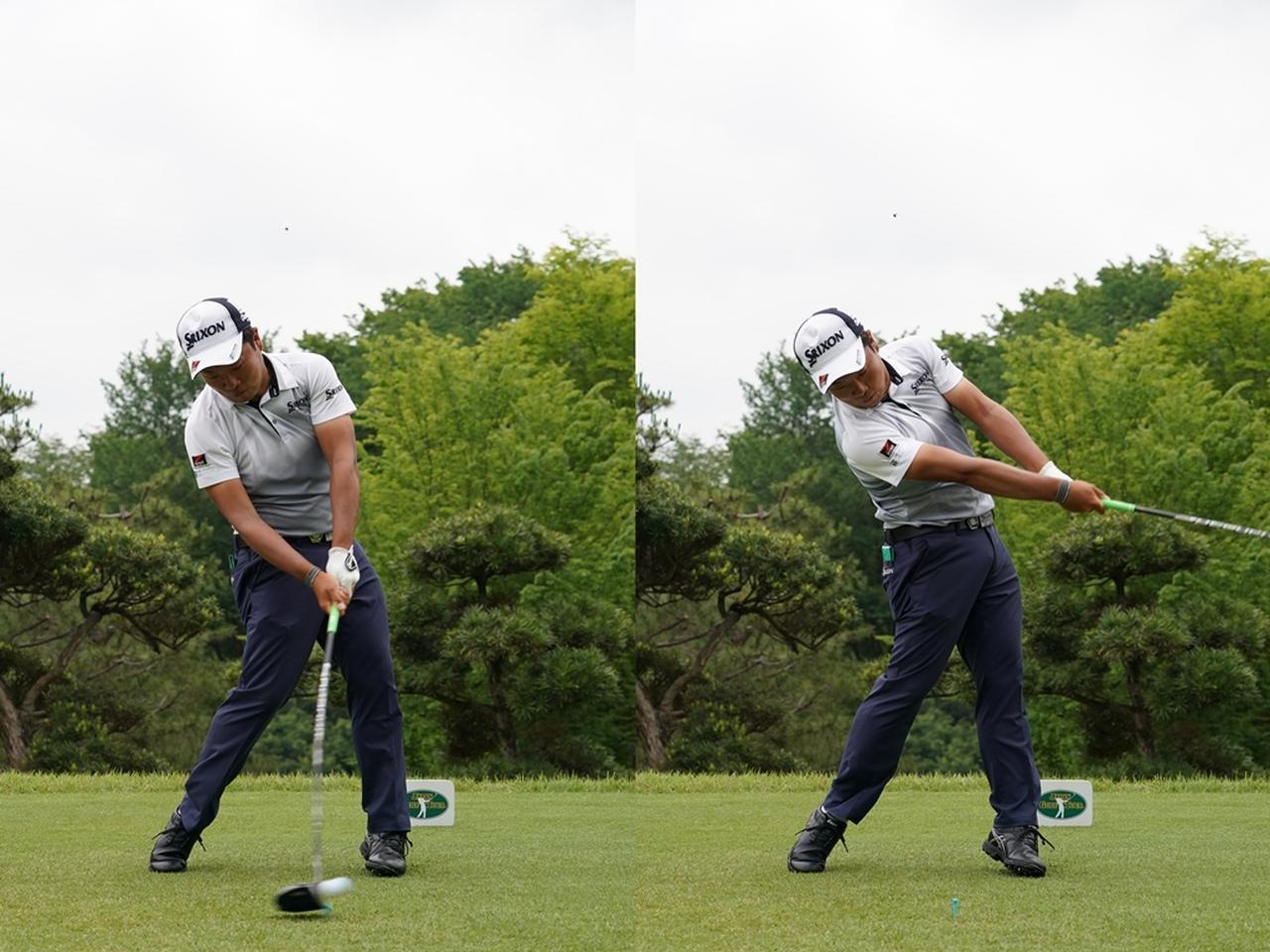 画像: 手首の動きは最小限にして体を使ってしっかりと振り抜くスウィングを実践する(2018年ツアー選手権 写真/姉崎正)