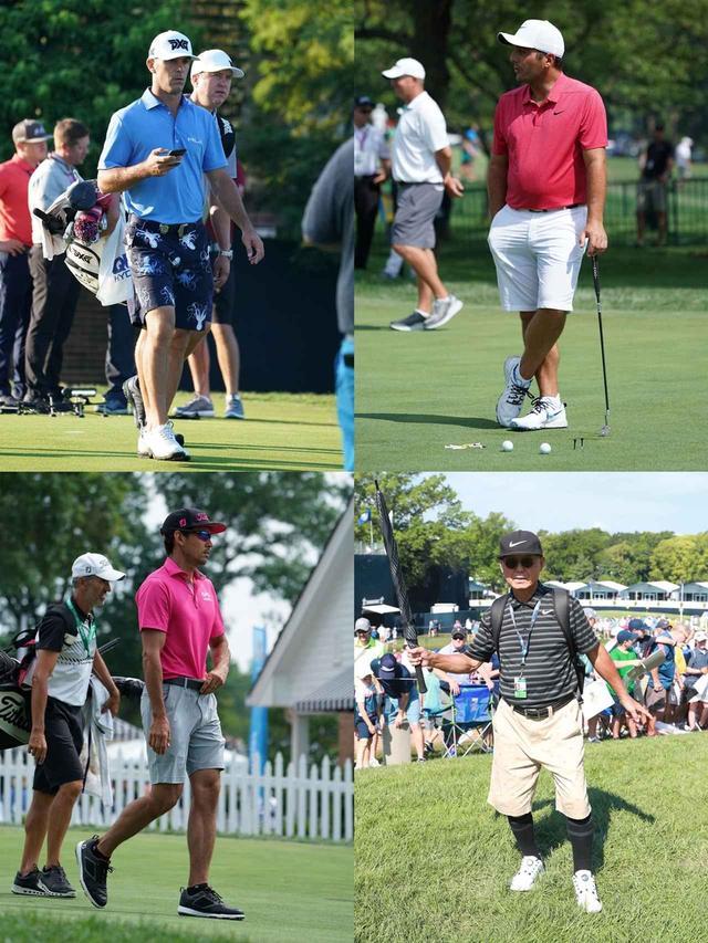 画像: 画像3/全米プロ練習日に短パンを着用していたビリー・ホーシェル(左上)、フランチェスコ・モリナリ(右上)、ラファ・カブレラベージョ(左下)、時松隆光の父(右下)