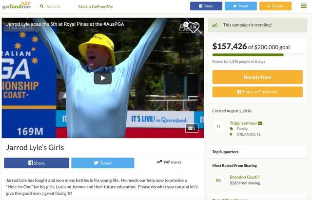 画像: ライルの残された二人の娘の教育資金を募る募金サイトは、米メディアやジャスティン・トーマスら仲間が募金を呼びかけ、一週間強で日本円にして1600万円以上が集まっている www.gofundme.com