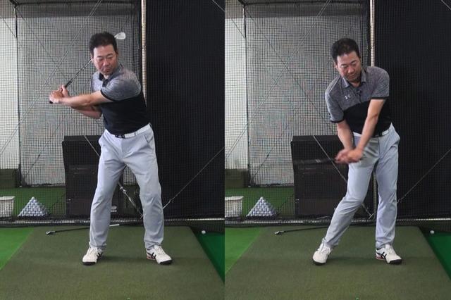 画像: (画像1)スウィングの問題点を教えるため、幡野夏生のスウィングを再現している井上コーチ。写真左のように下半身主導で切り返し、そのまま腰を回転させ続けるから、インパクトでフェースが開く