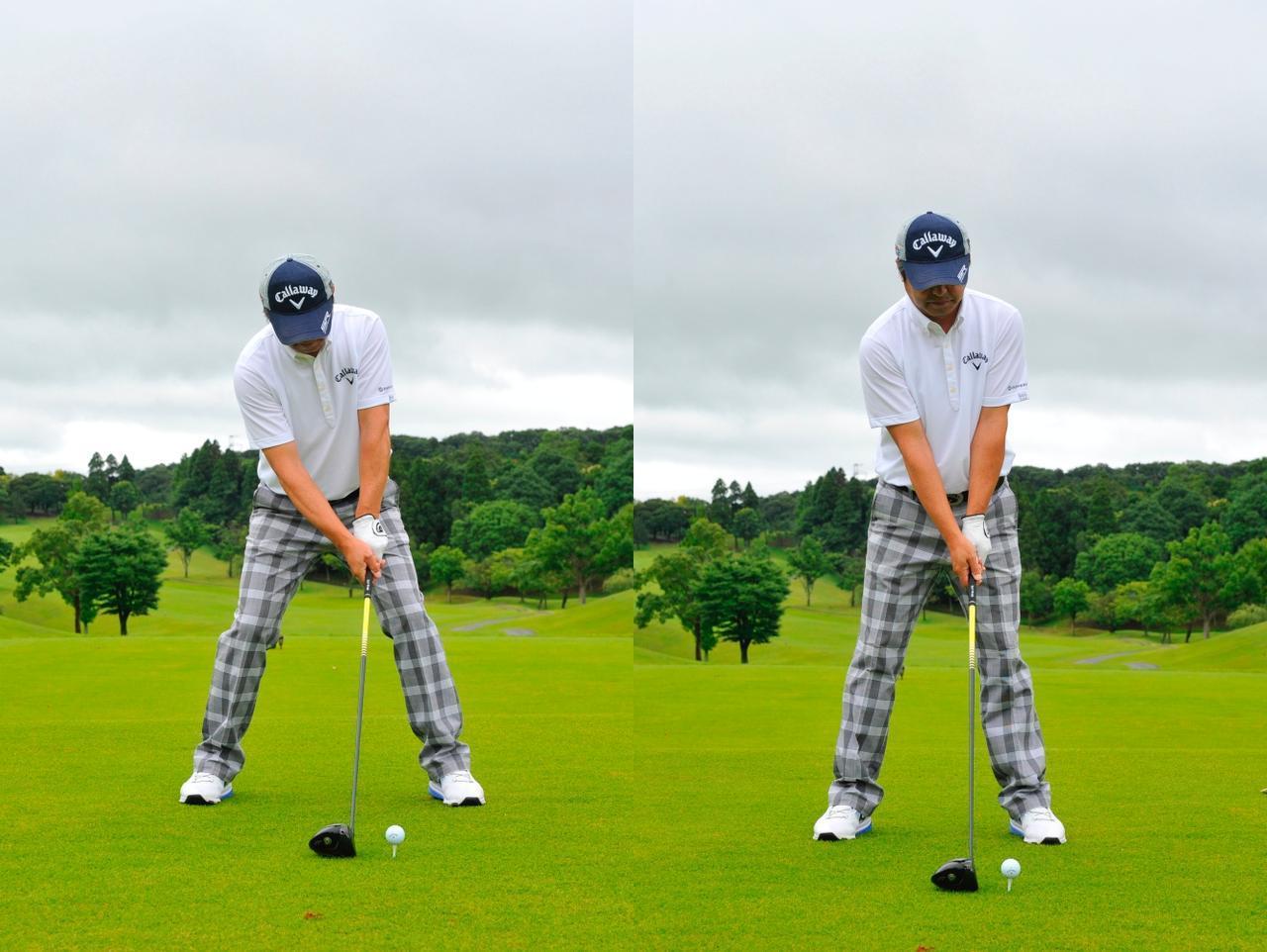 画像: ひざを深く曲げ腰の位置の低いアドレス(左)より、重心の高いアドレス(右)のほうが動きやすい