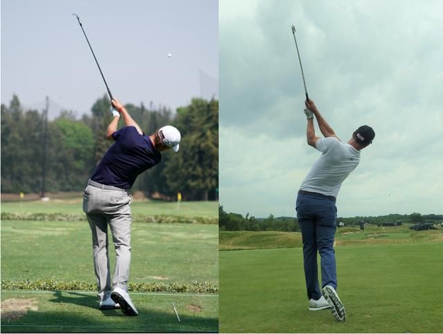 画像: 写真左はジャスティントーマス(WGCメキシコ選手権 写真/姉崎正)写真右はアダムスコット(2017年全米オープン写真/編集部)。いずれも、フォローで左手首は甲側にわずかに折れている