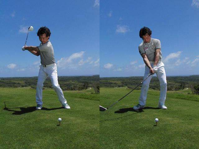 画像: バックスウィングで「右折」、ダウンスウィングで「左折」しながら腰を止める。これがツイスト打法の基本的な動きだと武市
