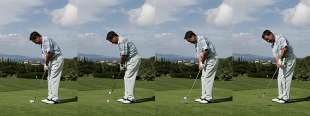 画像: ボールの近くに立って、パッティング感覚でストロークする