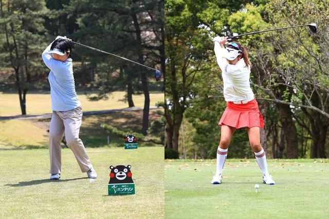 画像: 不動裕理(写真左)と原英莉花(写真右)のトップの位置を比較すると、違いは一目瞭然(撮影/大澤進二)
