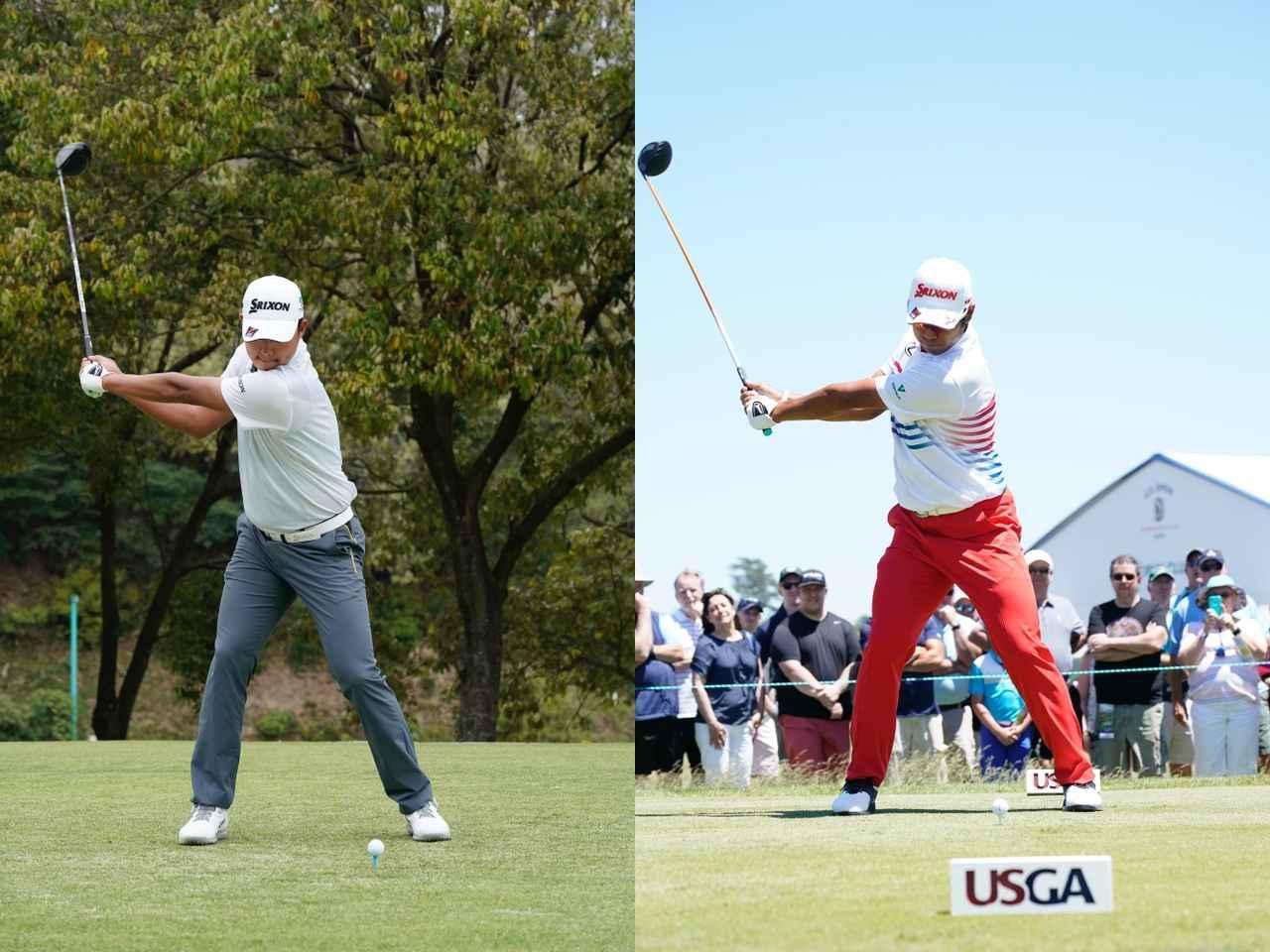 画像: 画像1。出水田(左)は松山(右)より右ひじの見える量が多い。それだけアームローテーションが多いことを意味する(撮影/岡沢裕行)