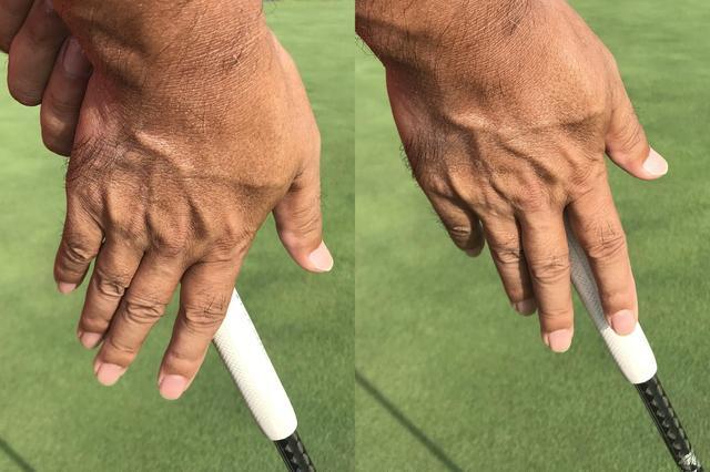 画像: 人差し指を伸ばさない一般的なグリップ(左)に対して人差し指を伸ばすグリップ(右)は手首の角度が浅くなる