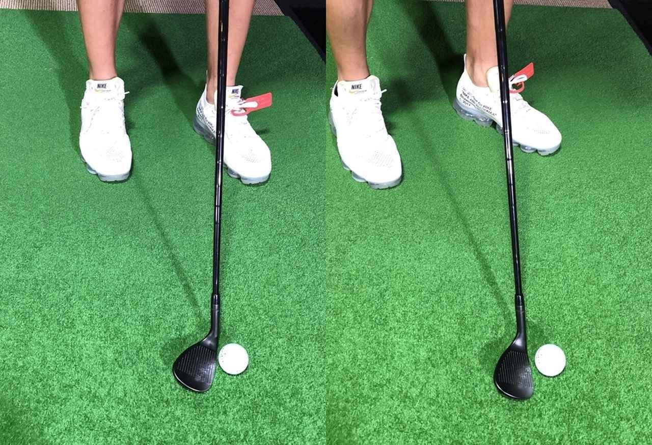画像: 普段どおりに構えるとスコアラインが目標の右側を向いてしまう(写真左)。真っすぐになるようにオープンスタンスで構えよう