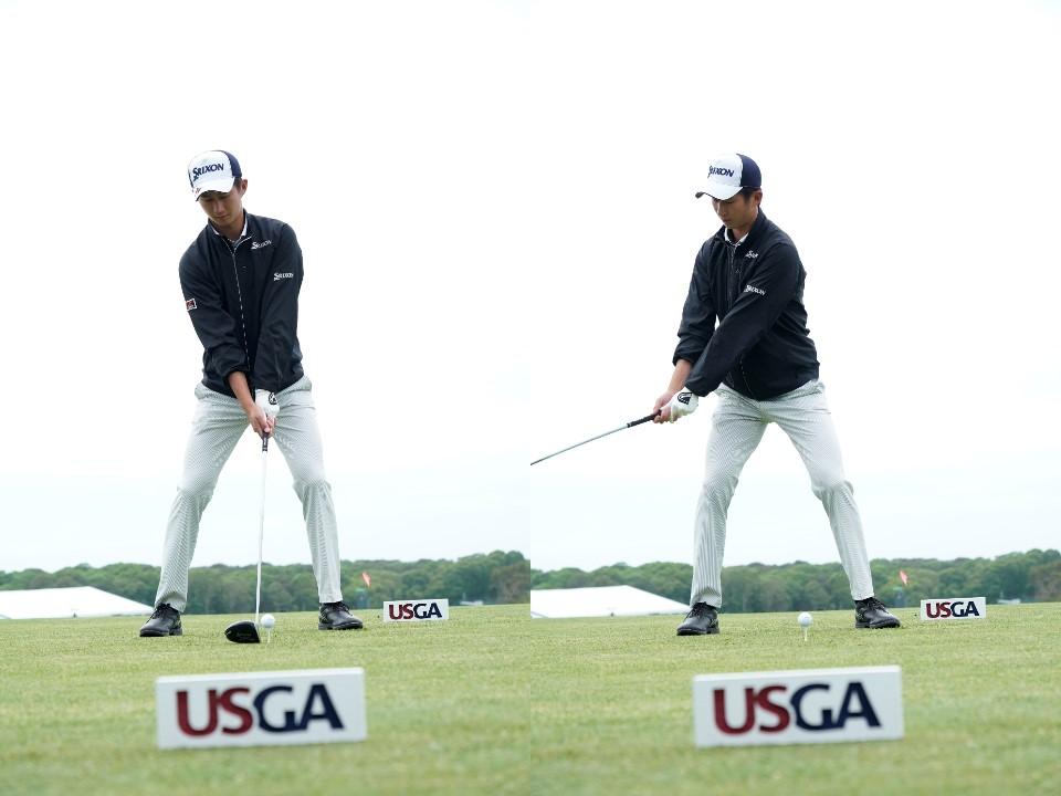 画像: バックスウィングの始動で顔を後ろに向けることで早い段階から上半身の回転が始まる