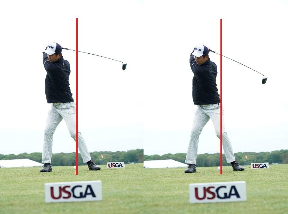 画像: トップからの切り返しで背中がターゲット方向に倒れこむことでダウンスウィングで左に体重がしっかり乗せられる